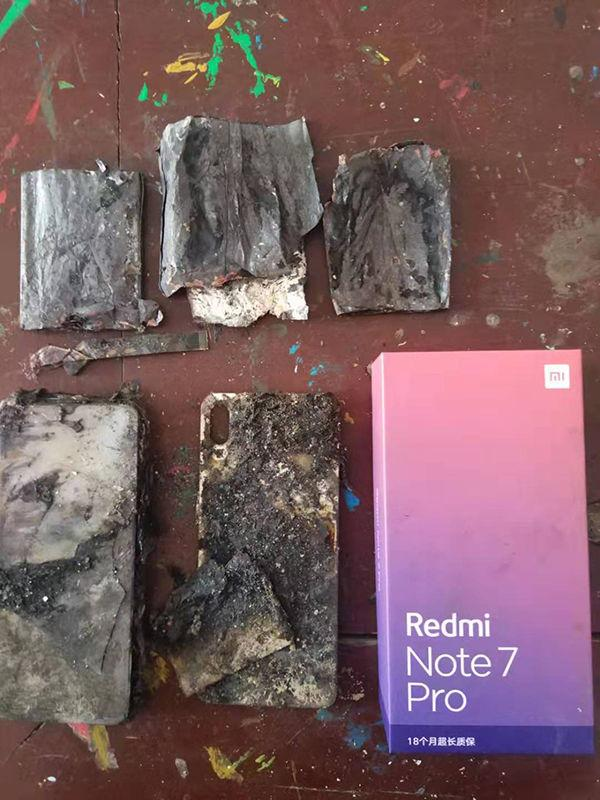 The remains of the allegedly burned-out Note 7 Pro. (Source: Toutiao)